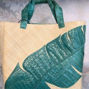 NANCY GONZALEZ Natural Straw Tote Bag w/Croc Trim